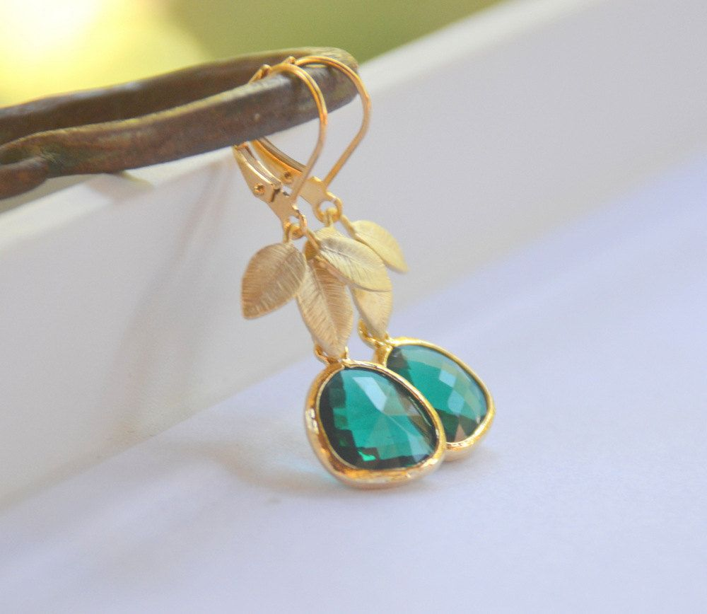 Emerald Green Teardrop and Gold Leaf Dangle Earrings. $32.00, via Etsy.