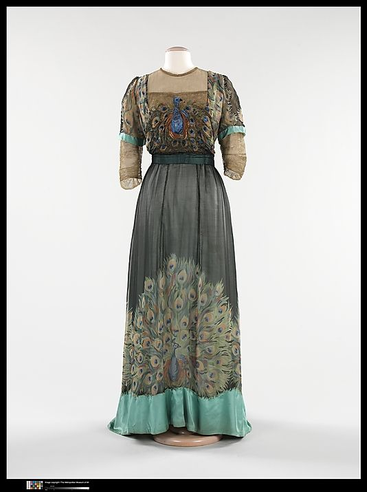 Silk Peacock dress - French