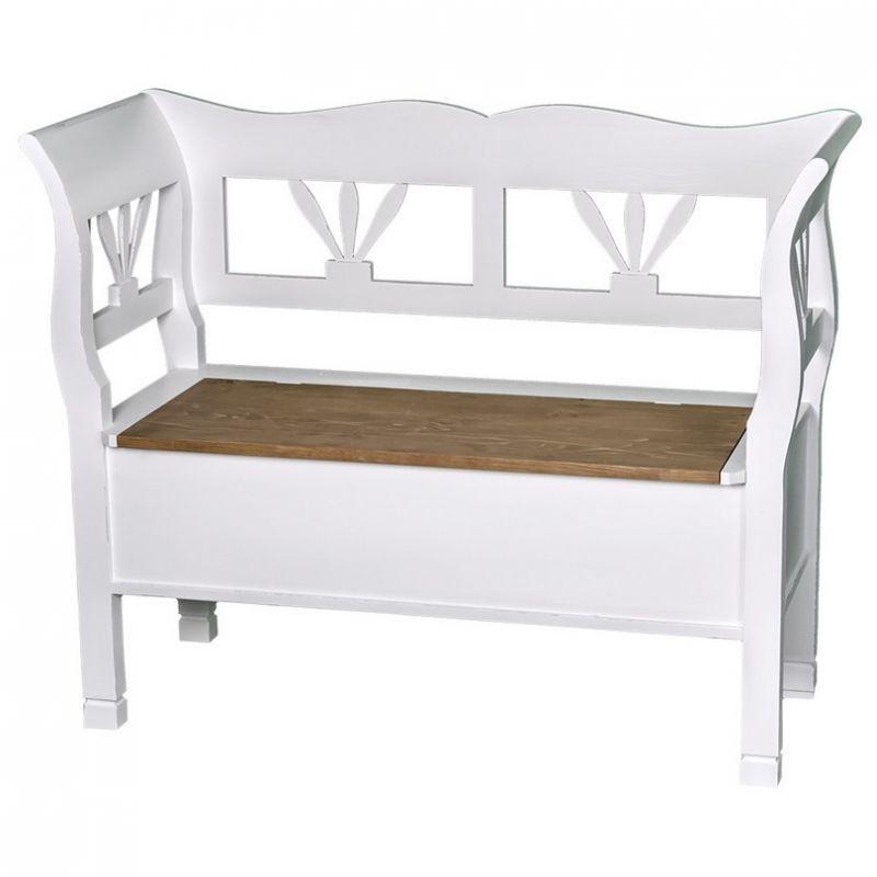 Romantische Sitzbank mit Eichenplatte, Möbel im romantischen