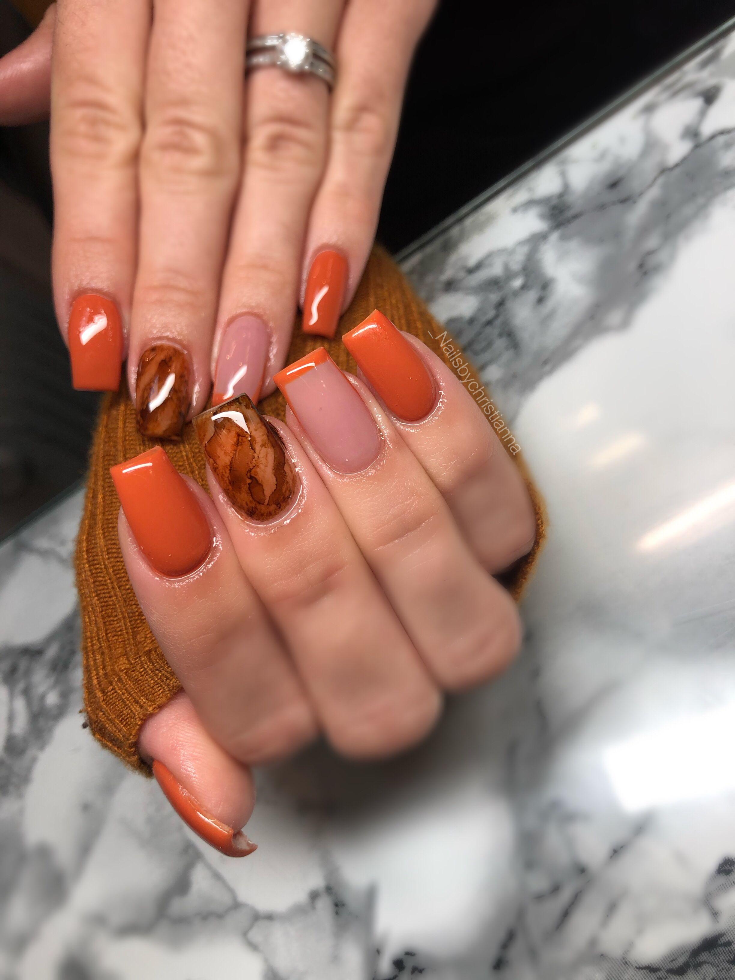 Burnt Orange Nails Rhinestone Nails Orange Nails Fall Acrylic Nails
