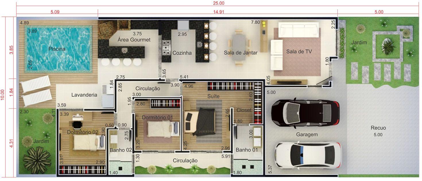 Planta de casa com fachada de tijolinho planta para for Fachadas de casas 1 planta