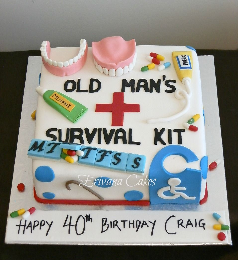 Old Age Survival Kit Cake Funny 50th Birthday Cakes Birthday