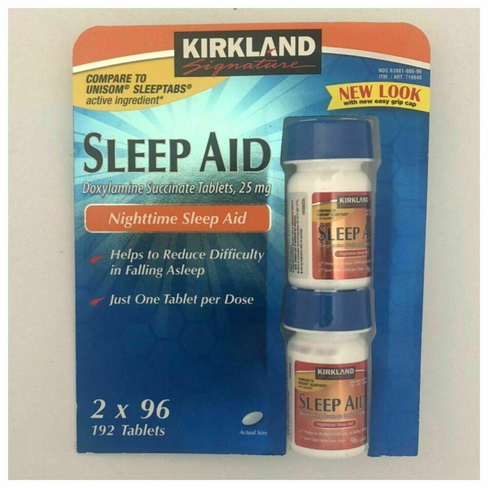 Kirkland Signature Sleep Aid 25mg 192 Tablets 2 Bottle Pack New