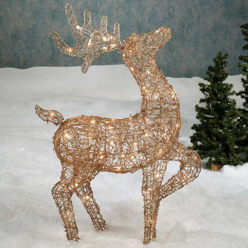 Outdoor Lighted Christmas Decoration Ideas With Animal Deer