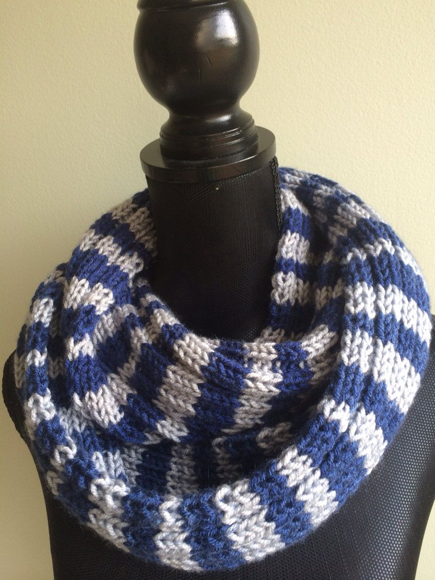 Blue Gray Striped Scarf - Men Infinity Scarf - Hand Knit Scarf ...