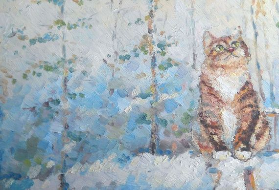 "Cat ""Cat and first snow"" Original Oil Painting Impasto Wall Decor Made to Order Pet Portrait Animal Kitty Forest Custom Trees Snow Russian"