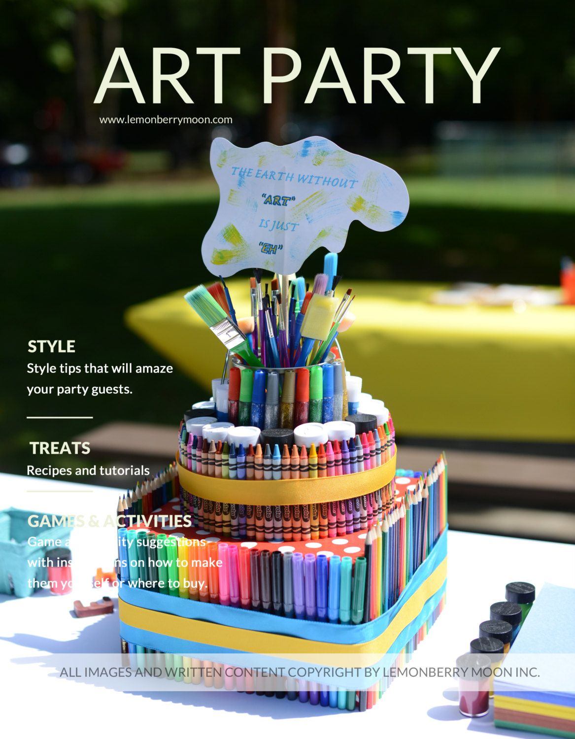 Party plan kids rainbow art theme birthday party plan for Arts and crafts for 10 year old girls