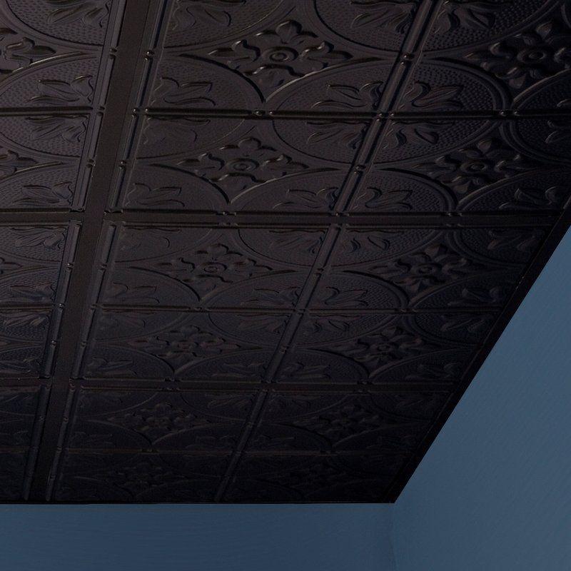 Antique 2 Ft X 2 Ft Drop In Or Grid Mount Ceiling Tile In Black Ceiling Tile Ceiling Panels Black Ceiling Tiles