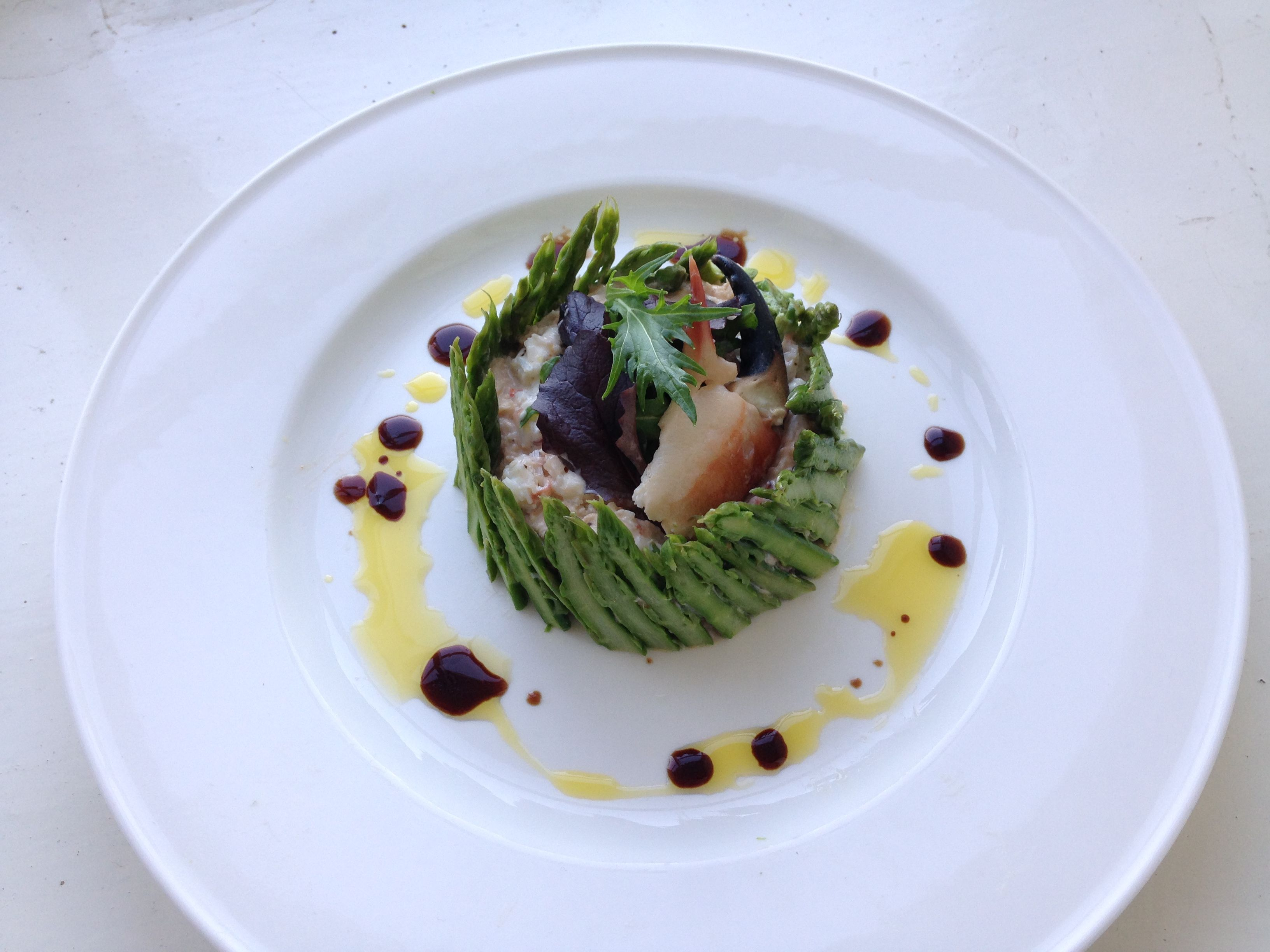 Crab and asparagus stack with fig balsamic vinegar