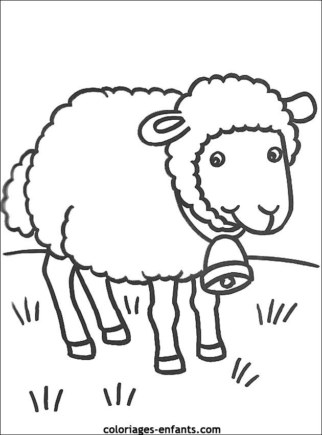 Coloriage Ferme Mouton.Coloriage D Animaux Dessin De Mouton A Colorier