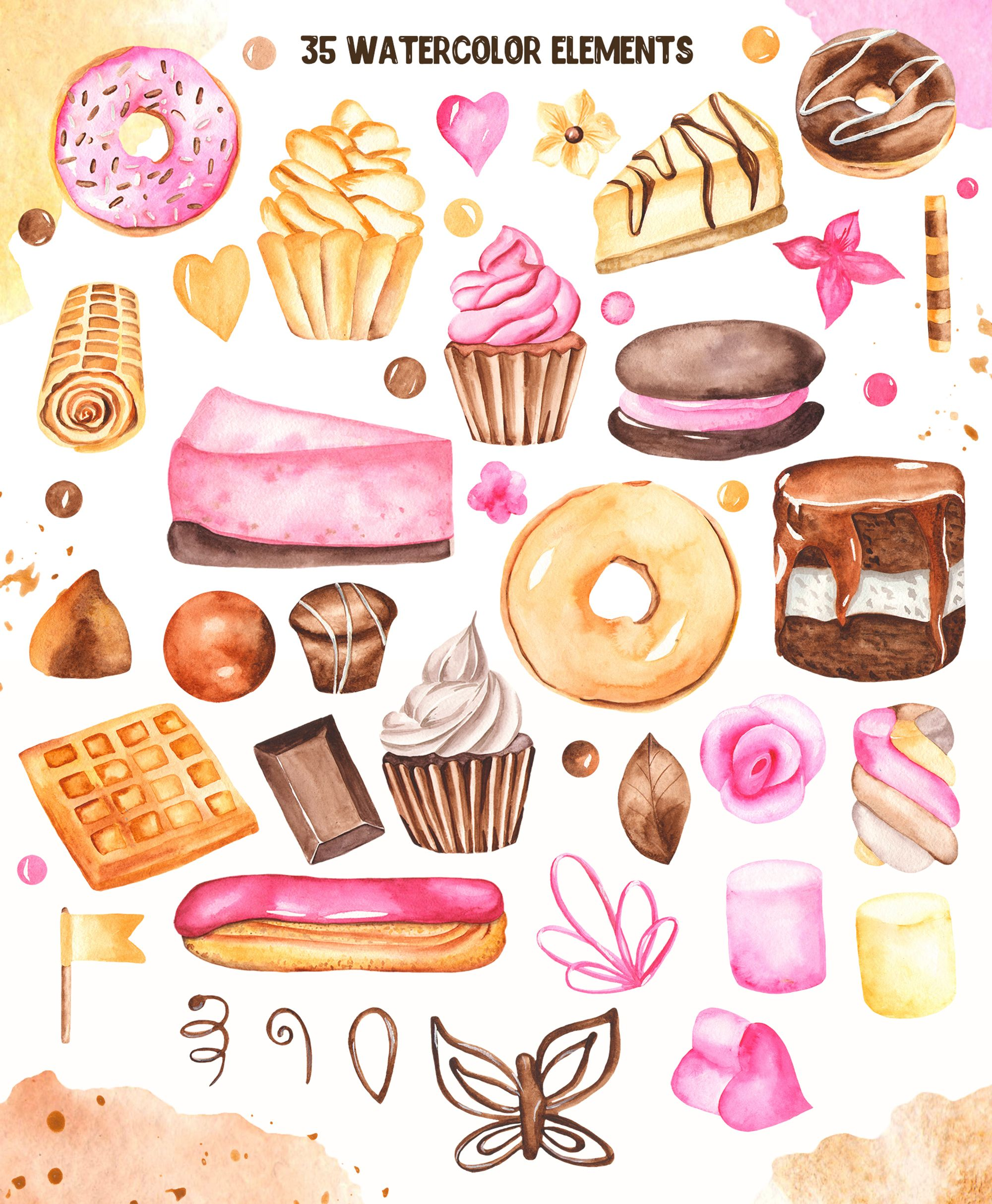 Watercolor Sweets Clipart Illustrations Of Donuts Cakes Etsy In 2021 Sweets Clipart Cake Illustration Food Illustration Art