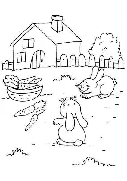 Coloriage A Imprimer Deux Petits Lapins Avec Des Carottes