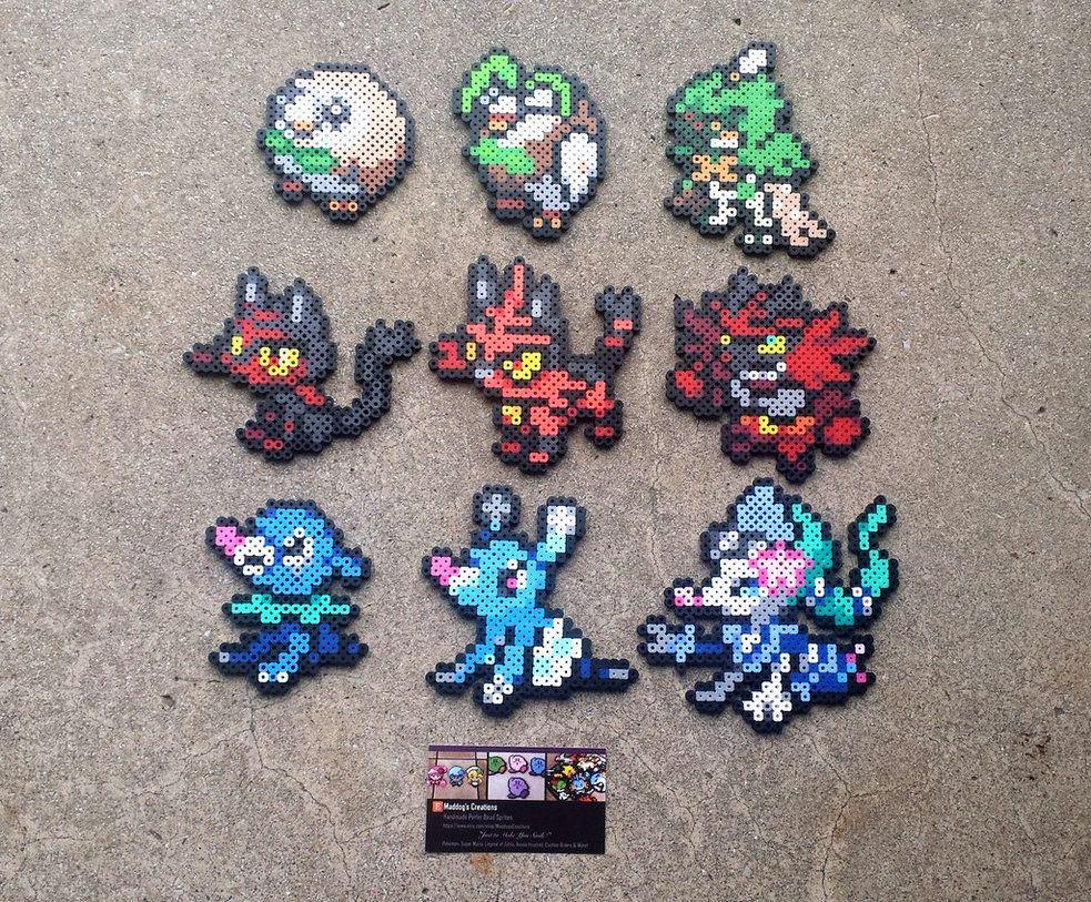 Gen Vii Starters Pokemon Perler Bead Sprites By