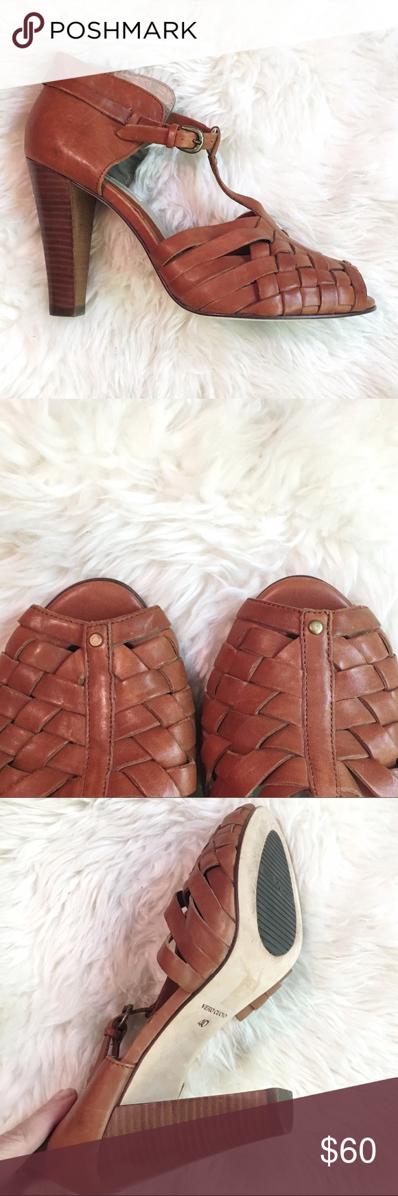 """Mike & Chris Leather Heels Fabulous lightly worn pair of leather woven toe heels. 4"""" heel. Leather sole. Slight scuff on back of one heel (see pic). Cushioned sole. Great everyday heel! Mike & Chris Shoes Heels"""