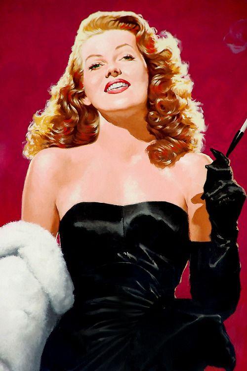 Rita Hayworth #portrait #painting #vintage #art
