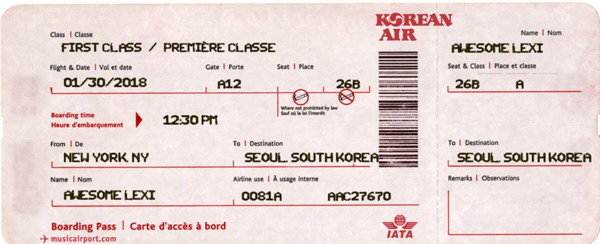Lexi Ticket Fake Plane Ticket Boarding Pass Template Ticket