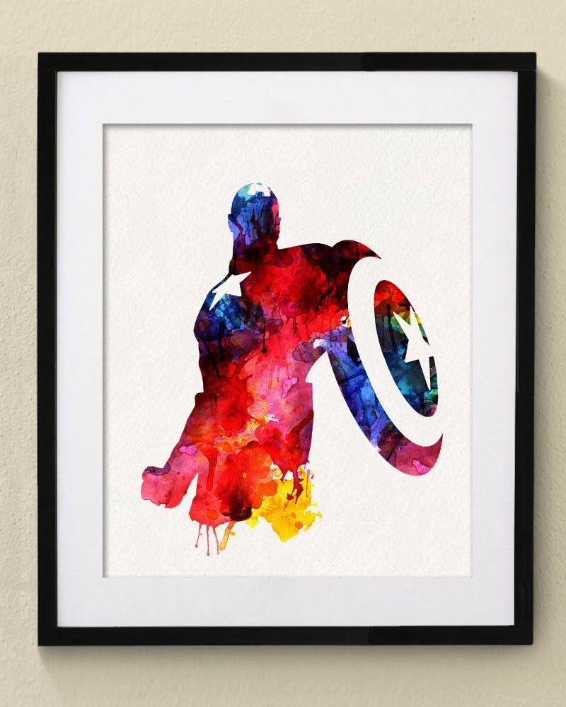 Marvel Poster - Avengers - Captain America _ Watercolor Painting ...