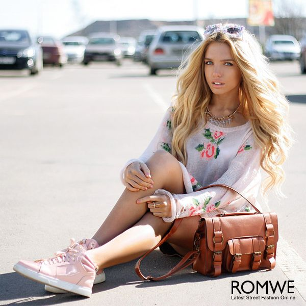 Floral Printed White Irregular Sweater  #ROMWEROCOCO.