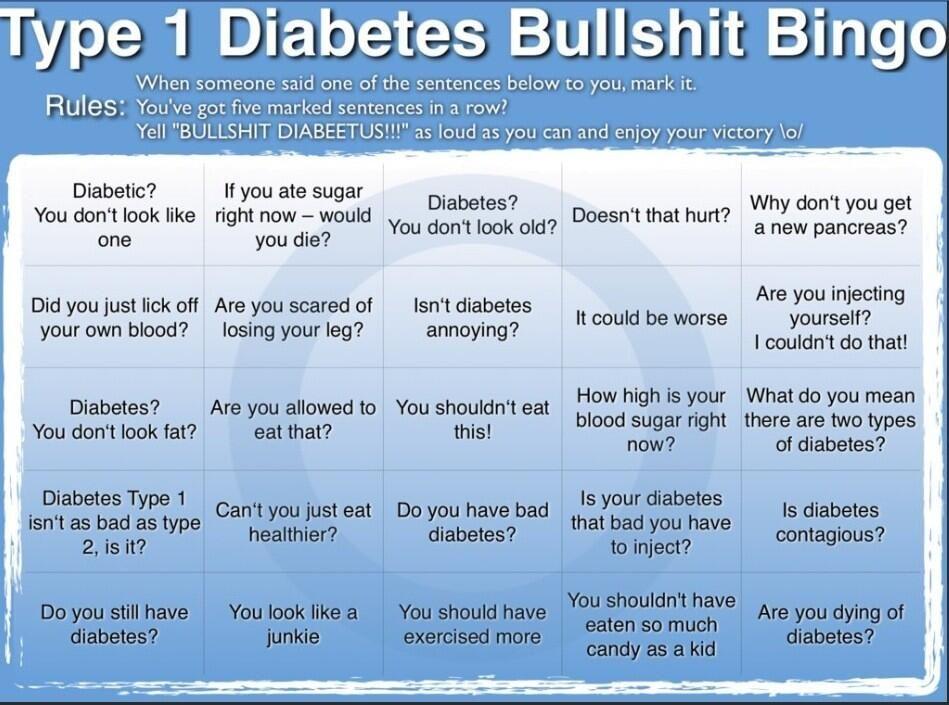 Type 1 Diabetes Bullshit Bingo