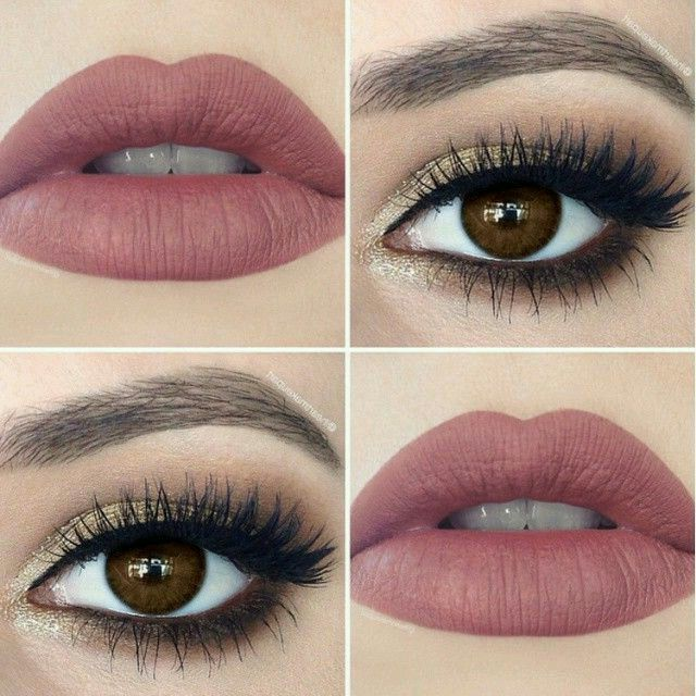 Neutral Eye Makeup Paired with a Matte Rose Lipstick ...