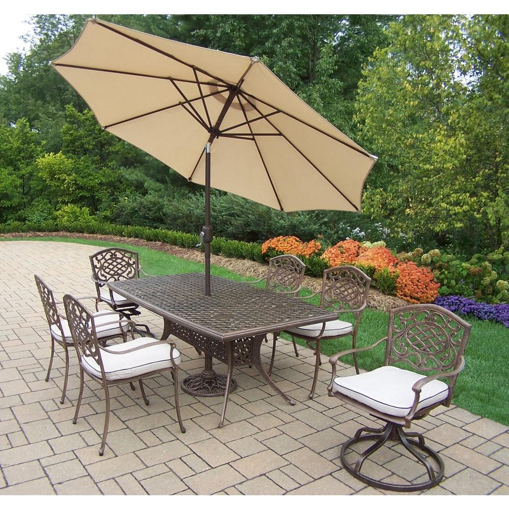 Oakland Living 9 Piece Aluminum Outdoor Dining Set With Oatmeal
