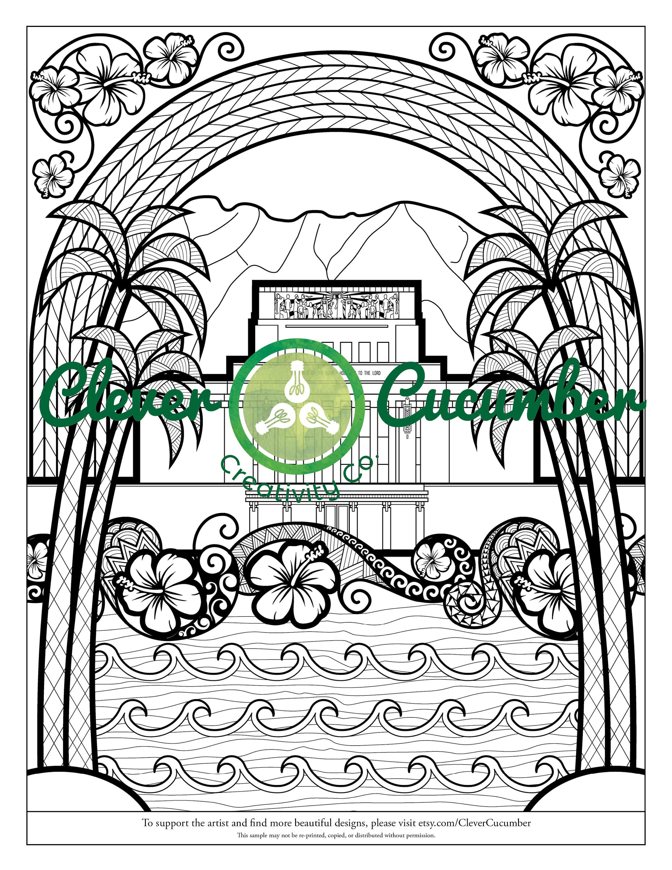LDS Mormon Latter-Day Saint Church Temple Adult Coloring Page Laie ...