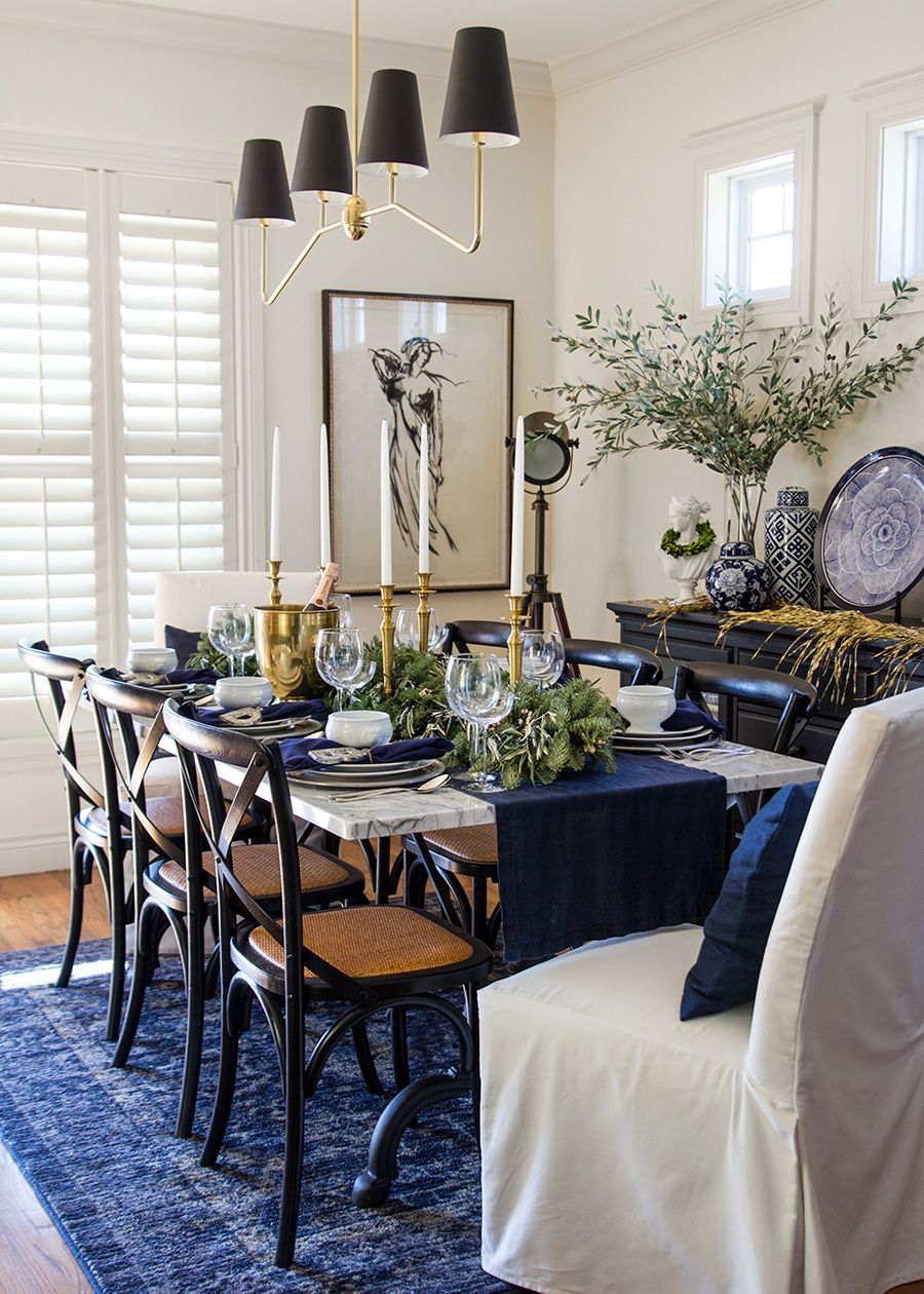 Christmas 2017 Green Dining Room Dining Room Blue Dining Table