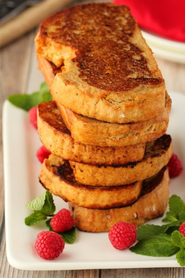 french toast recipe that is crispy on the outside, soft on the inside and makes a perfect breakfast served as is or with syrup or jam and vegan cream! |