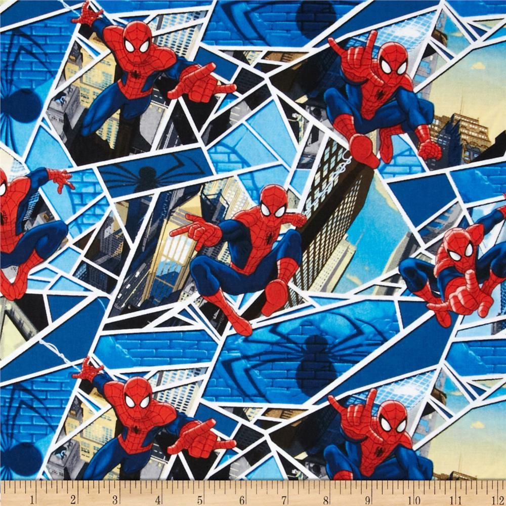 marvel comics spiderman panes blue from fabricdotcom designed by