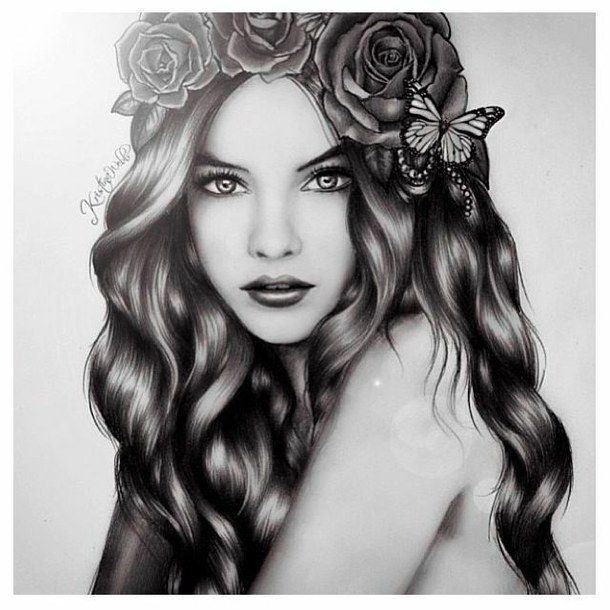 Amazing Black And White Curly Hair Cute Drawing Girl Hair