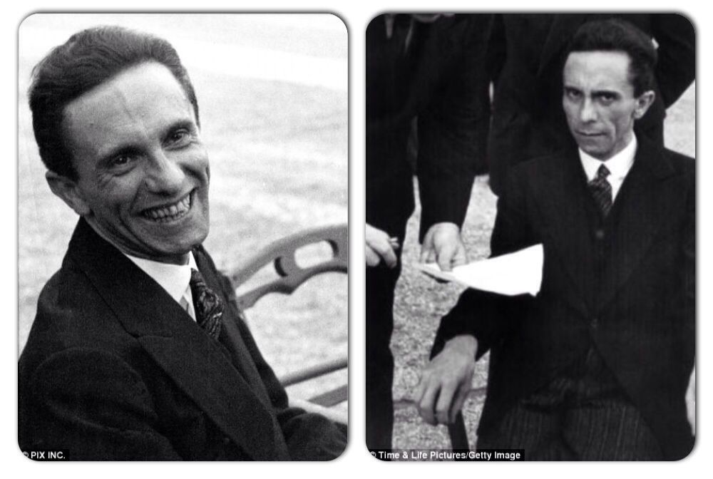Joseph Goebbles before and after learning famed LIFE photographer Alfred Eisenstaedt was Jewish, 1933.
