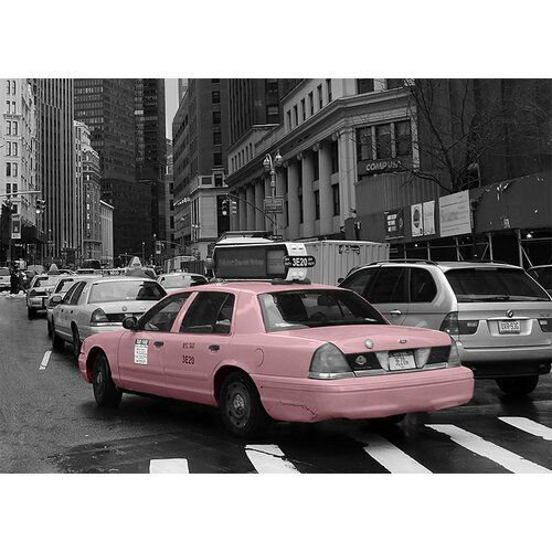 "Poster ""Around The World NYC Taxi"", Graphic Print in Pink East Urban Home Wall Color: Black, Size: 50 cm H x 70 cm W x 0.5 cm D"