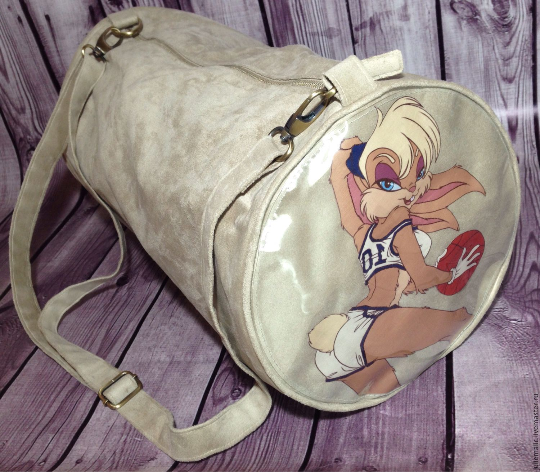 """Купить Дизайнерская сумка из эко-замши с принтами """"Дисней"""" - рисунок, сумка, спортивная сумка"""