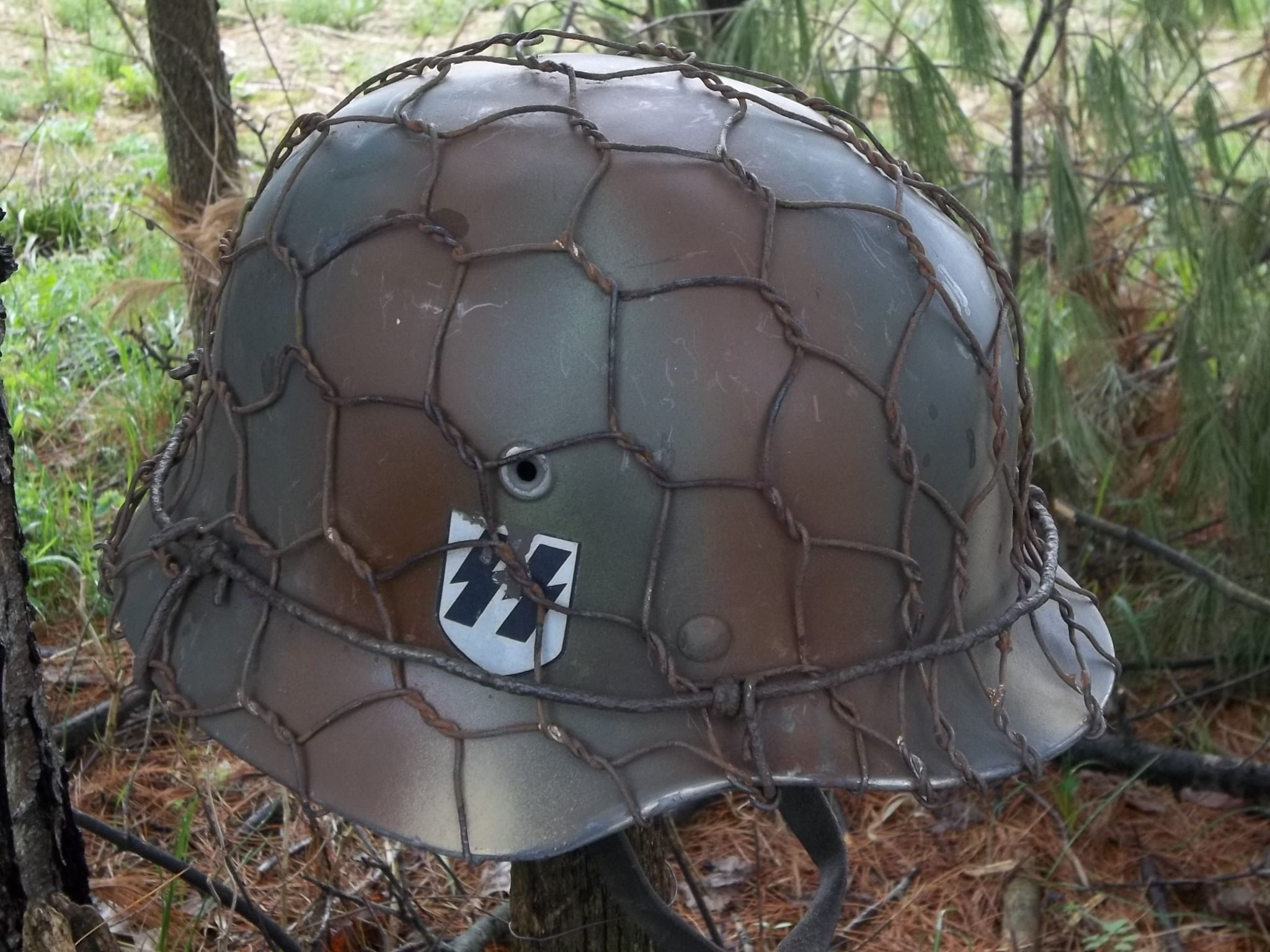 German SS camo with chickenwire  | Original WWII Helmets