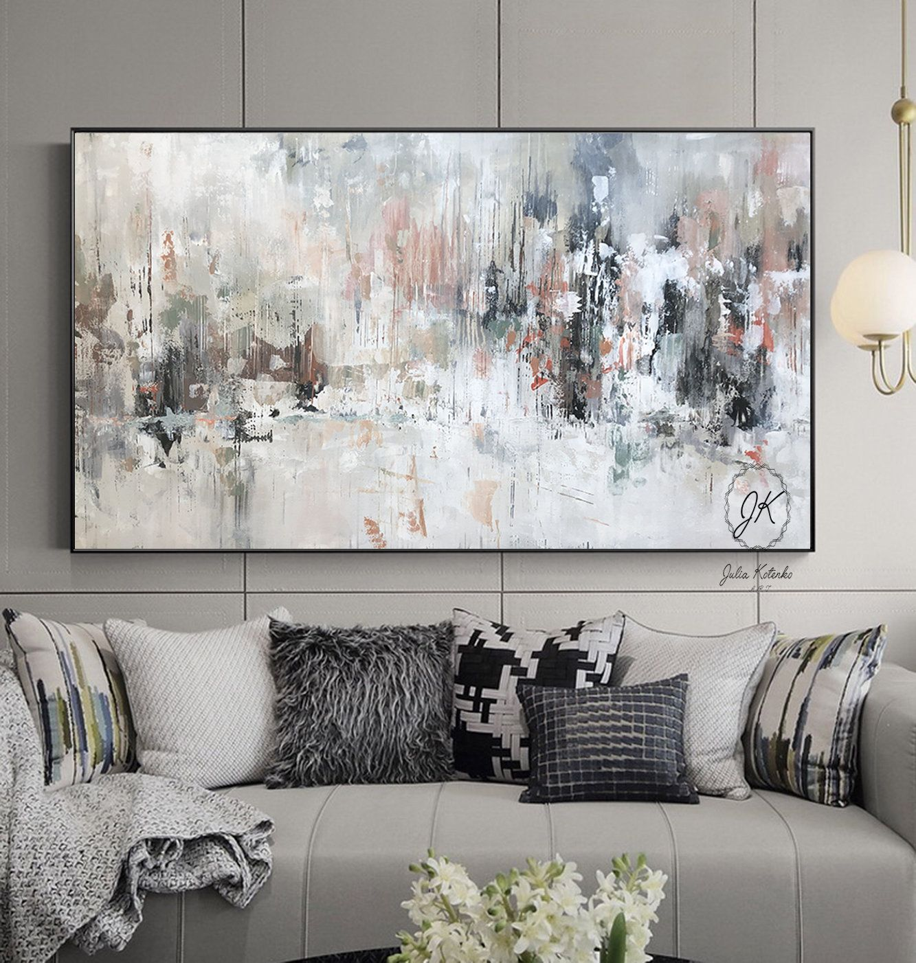 White Abstract Canvas Art Extra Large Wall Art Bright Abstract Painting Pallet Knife Textured Wall Art Abstract Canvas Wall Art Abstract Wall Art Living Room