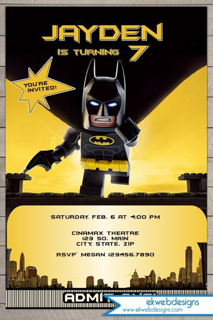 Lego Batman Movie 2017 Birthday Invitation Lego Batman