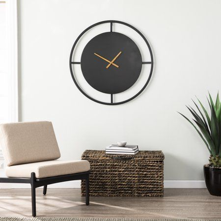 Elvin Decorative Wall Clock Contemporary Black Walmart Com In 2020 Minimalist Wall Clocks Clock Decor Clock Wall Decor