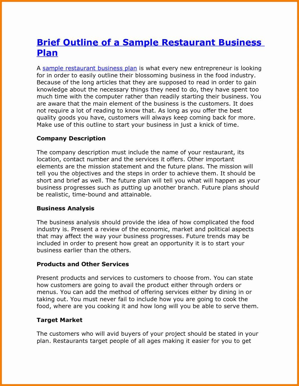 Business Plan Template Sample Fresh Business Plan Sample Pdf T