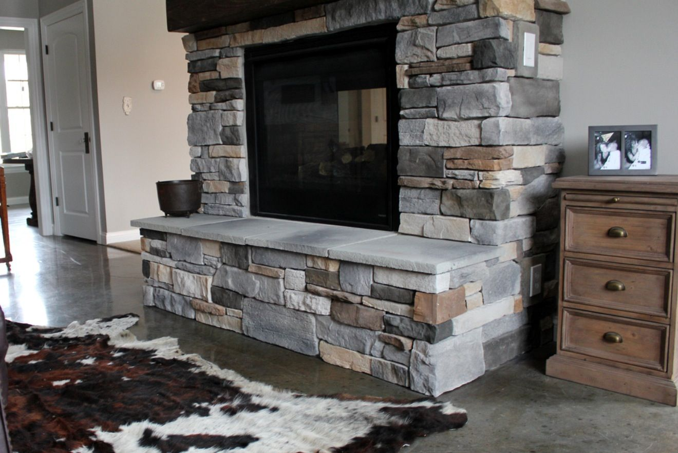 stone fireplace hearth ledge rustic mantle stained concrete