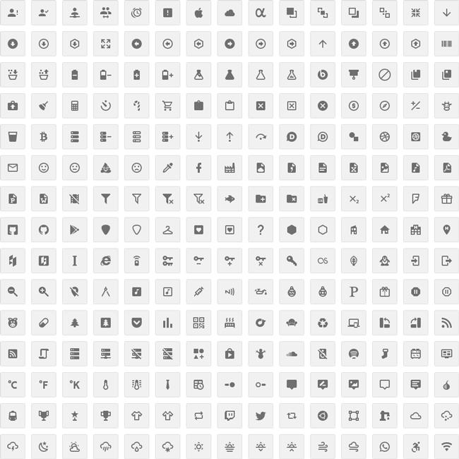 Material Design Icon WebFont (CSS3, OTF, EOT, SVG, TTF