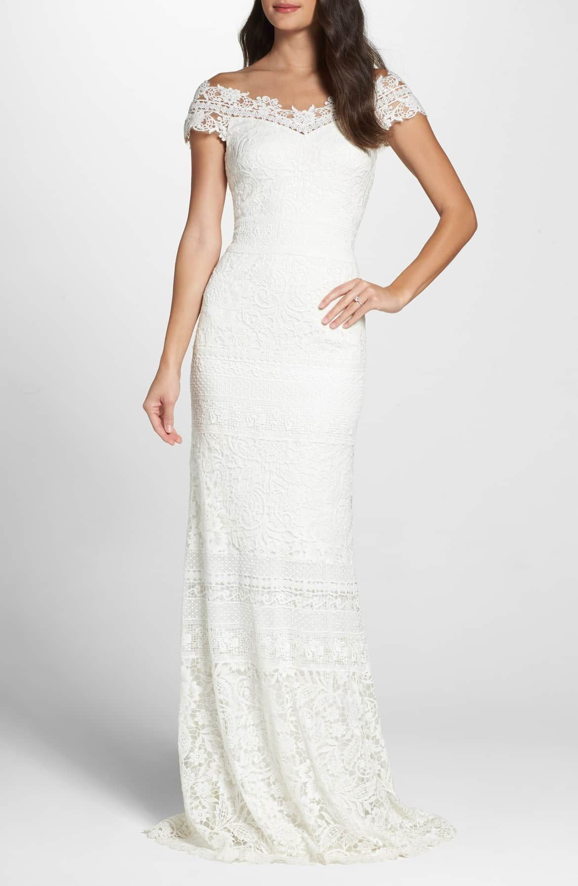 Off the shoulder illusion lace gown main color ivory moda in