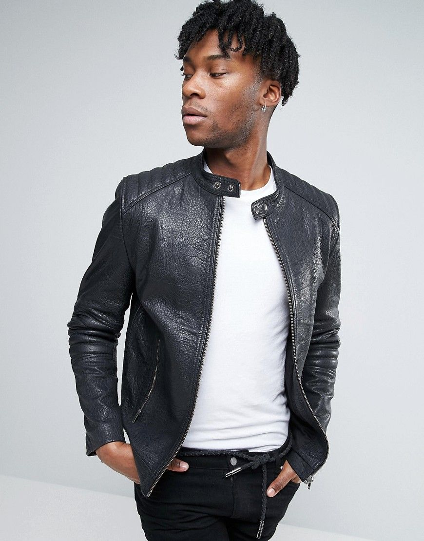ASOS Leather Quilted Racing Biker Jacket In Black - Black ... : quilted racing jacket - Adamdwight.com