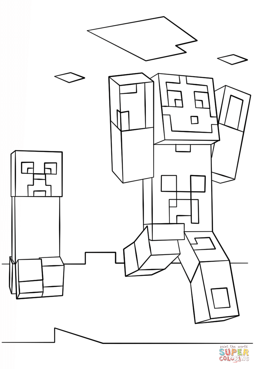 Minecraft Steve And Creeper Coloring Page Free Printable Coloring Pages In 2020 Minecraft Coloring Pages Coloring Pages Lego Coloring Pages
