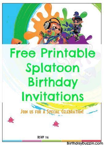 free printable splatoon birthday invitations splatoon party
