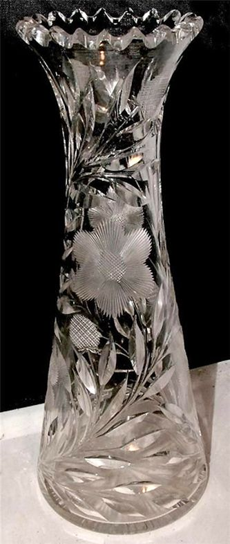 Rp Antique American Brilliant Cut Glass Daisy Crystal Vase Ebay