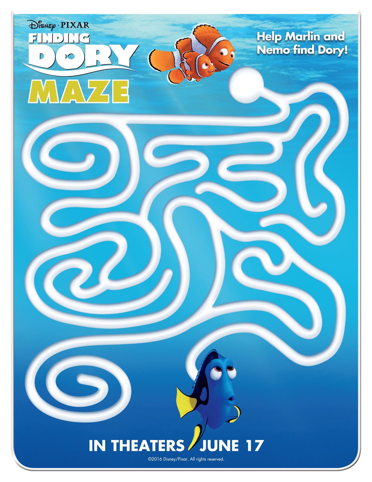Finding Dory Activity Sheet With Nemo Free Printables