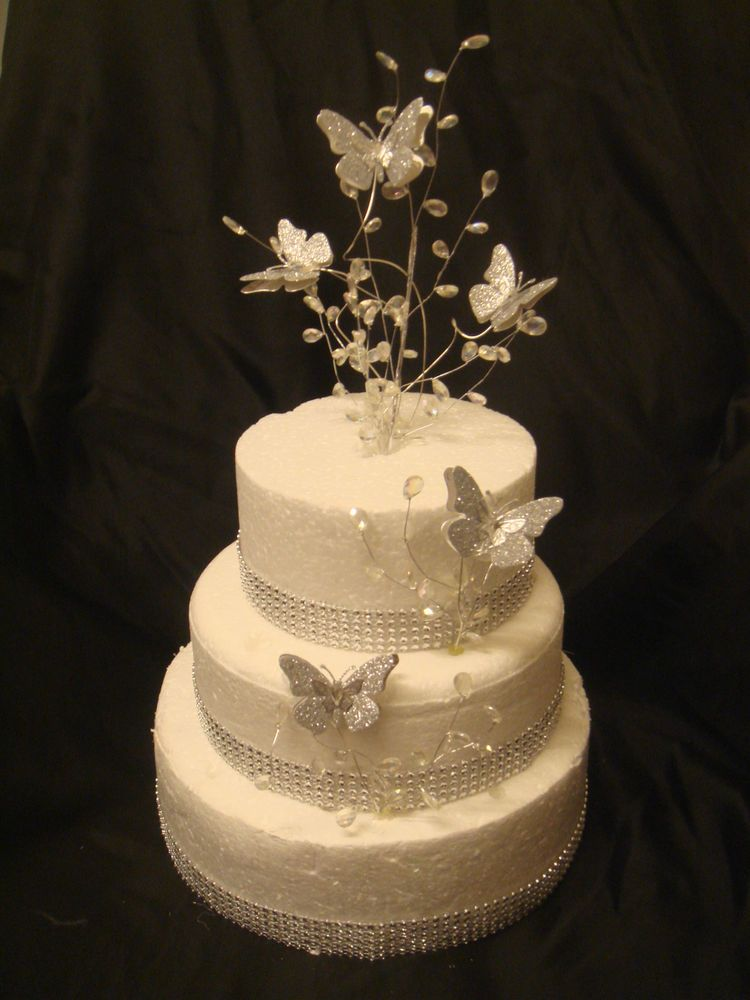 Glitter butterfly silver trim crystal wedding birthday cake topper ...