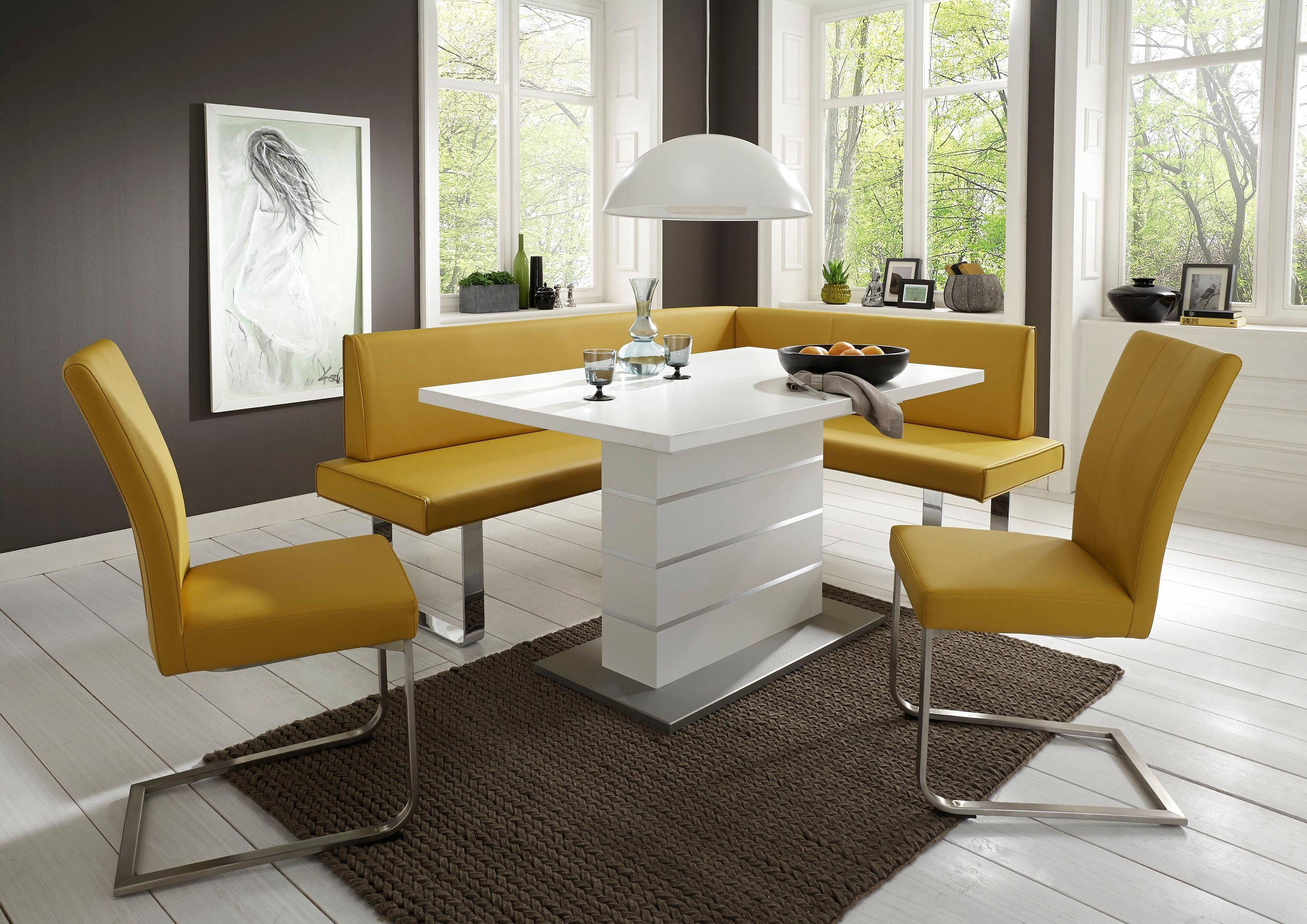 niehoff sitzm bel eckbank nicola modernes design mit geb rstetem edelstahl hartwaren wohnen. Black Bedroom Furniture Sets. Home Design Ideas