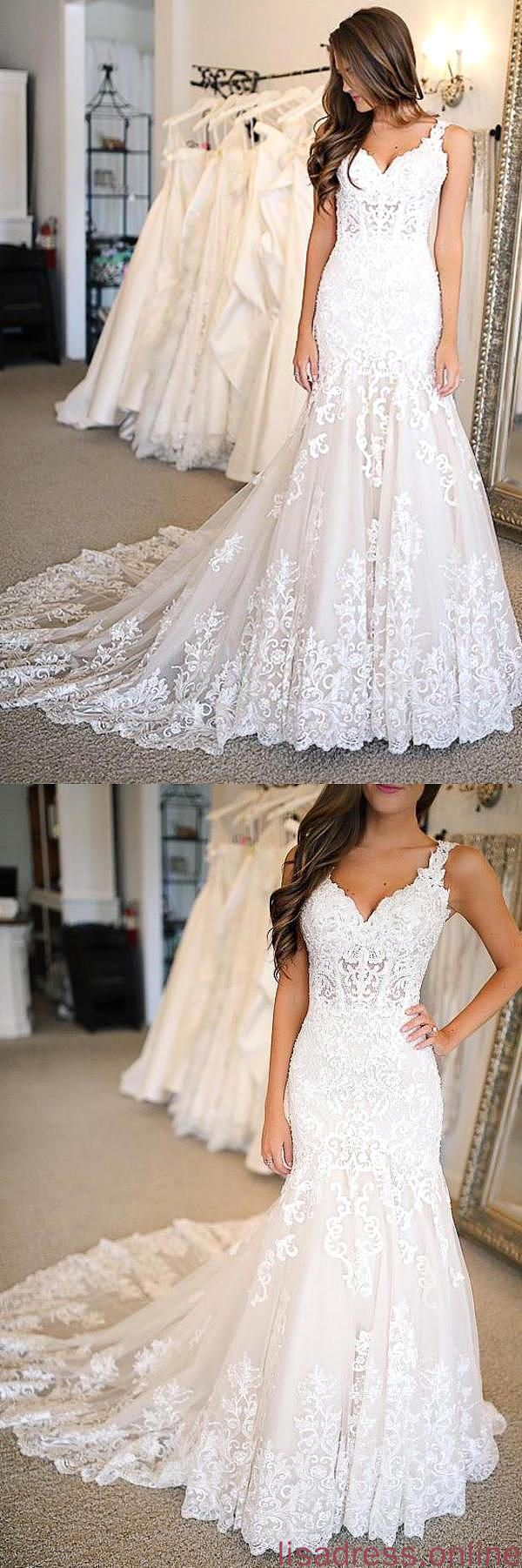 Mermaid Lace Applique Sweetheart Ivory Wedding Dresses Long Wedding XHQPST12775 – Products