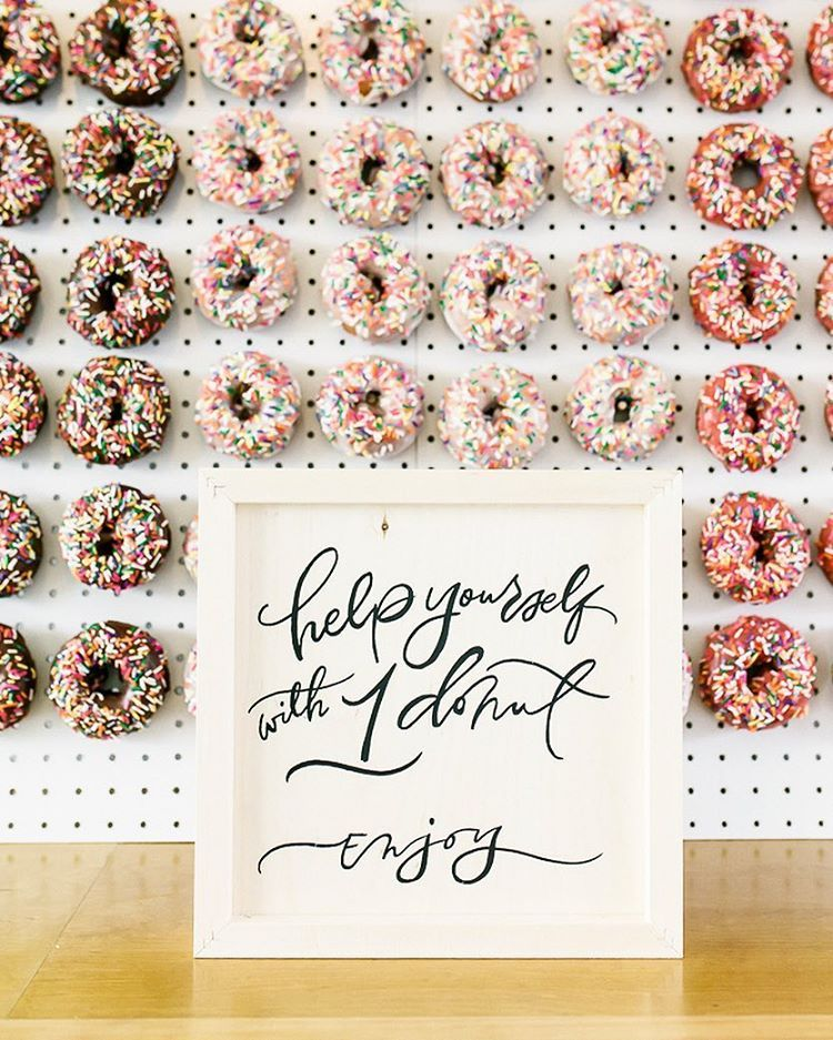 calligraphy on wood for a donut wall :)